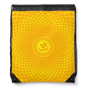 Yellow Golden Sun Lotus flower meditation wheel OM Drawstring Bag