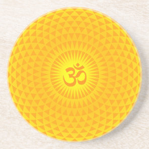 Yellow Golden Sun Lotus flower meditation wheel OM Drink Coaster