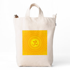 Yellow Golden Sun Lotus flower meditation wheel OM Duck Bag