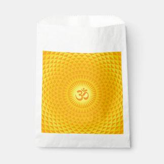 Yellow Golden Sun Lotus flower meditation wheel OM Favor Bag