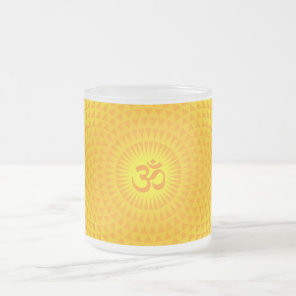 Yellow Golden Sun Lotus flower meditation wheel OM Frosted Glass Coffee Mug