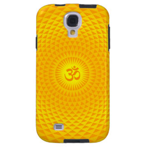 Yellow Golden Sun Lotus flower meditation wheel OM Galaxy S4 Case
