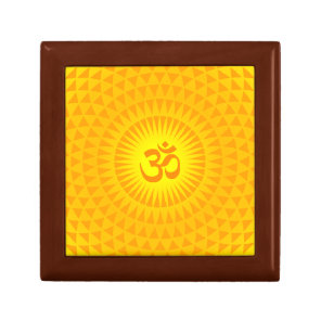 Yellow Golden Sun Lotus flower meditation wheel OM Gift Box