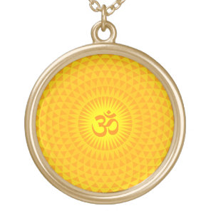 Yellow Golden Sun Lotus flower meditation wheel OM Gold Plated Necklace
