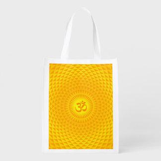 Yellow Golden Sun Lotus flower meditation wheel OM Grocery Bags