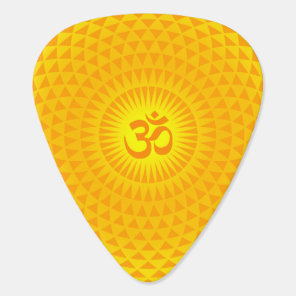 Yellow Golden Sun Lotus flower meditation wheel OM Guitar Pick