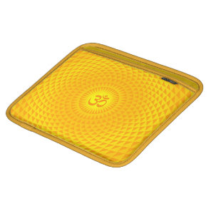 Yellow Golden Sun Lotus flower meditation wheel OM iPad Sleeve