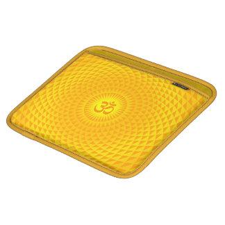 Yellow Golden Sun Lotus flower meditation wheel OM iPad Sleeve