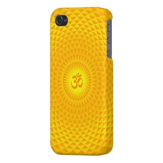 Yellow Golden Sun Lotus flower meditation wheel OM iPhone 4 Cover