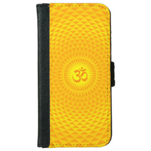 Yellow Golden Sun Lotus flower meditation wheel OM iPhone 6/6s Wallet Case