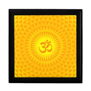 Yellow Golden Sun Lotus flower meditation wheel OM Jewelry Box