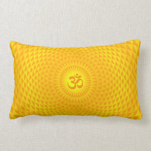 Yellow Golden Sun Lotus flower meditation wheel OM Lumbar Pillow