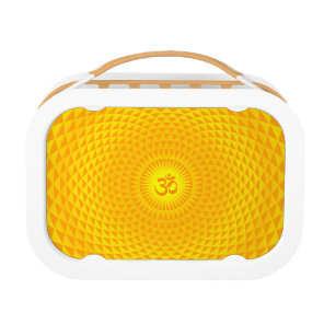 Yellow Golden Sun Lotus flower meditation wheel OM Lunch Box