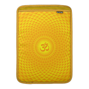 Yellow Golden Sun Lotus flower meditation wheel OM MacBook Sleeve