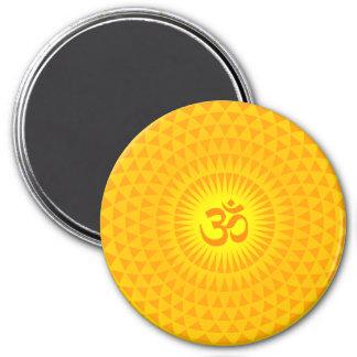 Yellow Golden Sun Lotus flower meditation wheel OM Magnet