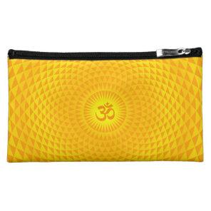 Yellow Golden Sun Lotus flower meditation wheel OM Makeup Bag