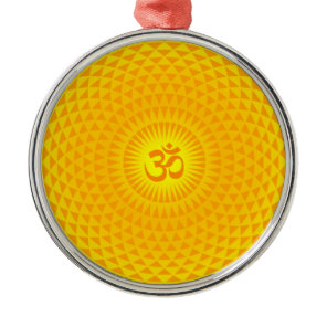 Yellow Golden Sun Lotus flower meditation wheel OM Metal Ornament