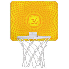 Yellow Golden Sun Lotus flower meditation wheel OM Mini Basketball Hoop