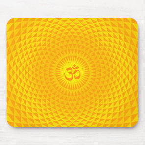 Yellow Golden Sun Lotus flower meditation wheel OM Mouse Pad