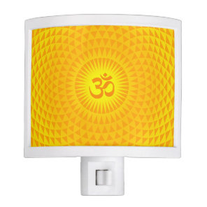 Yellow Golden Sun Lotus flower meditation wheel OM Night Light