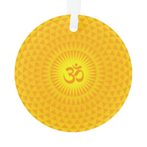 Yellow Golden Sun Lotus flower meditation wheel OM Ornament