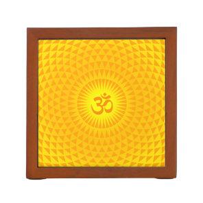 Yellow Golden Sun Lotus flower meditation wheel OM Pencil/Pen Holder