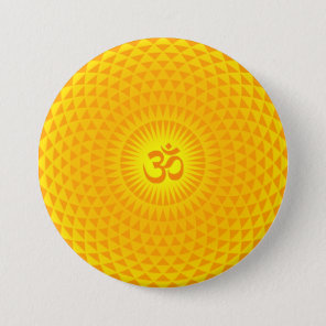 Yellow Golden Sun Lotus flower meditation wheel OM Pinback Button