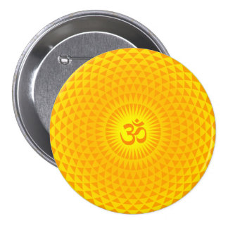 Yellow Golden Sun Lotus flower meditation wheel OM Pinback Button
