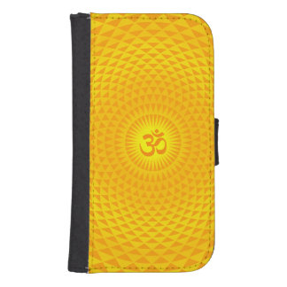 Yellow Golden Sun Lotus flower meditation wheel OM Galaxy S4 Wallets
