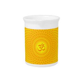 Yellow Golden Sun Lotus flower meditation wheel OM Pitcher