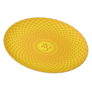 Yellow Golden Sun Lotus flower meditation wheel OM Plate