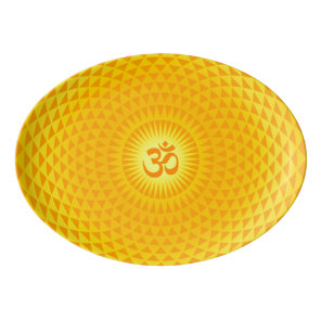 Yellow Golden Sun Lotus flower meditation wheel OM Porcelain Serving Platter