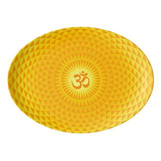 Yellow Golden Sun Lotus flower meditation wheel OM Porcelain Serving Platter