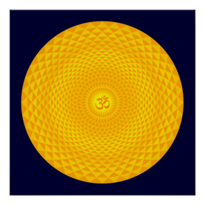Yellow Golden Sun Lotus flower meditation wheel OM Poster