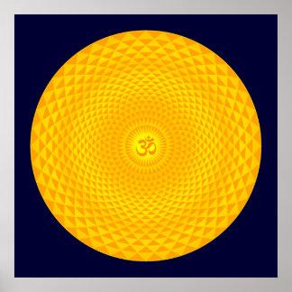 Yellow Golden Sun Lotus flower meditation wheel OM Poster