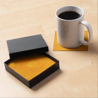 Yellow Golden Sun Lotus flower meditation wheel OM Beverage Coaster