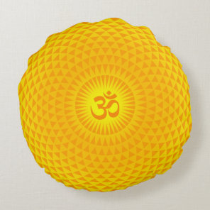 Yellow Golden Sun Lotus flower meditation wheel OM Round Pillow
