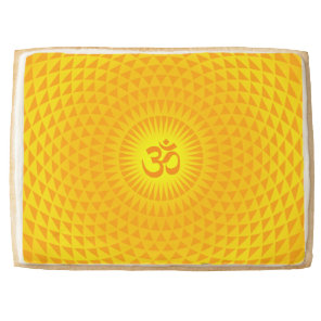 Yellow Golden Sun Lotus flower meditation wheel OM Shortbread Cookie