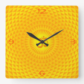 Yellow Golden Sun Lotus flower meditation wheel OM Square Wall Clock