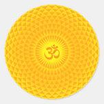 Yellow Golden Sun Lotus flower meditation wheel OM Round Sticker