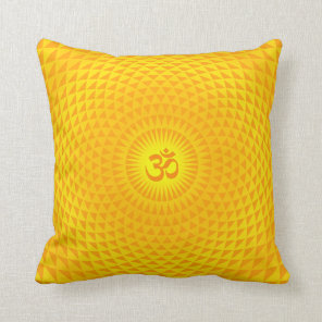 Yellow Golden Sun Lotus flower meditation wheel OM Throw Pillow