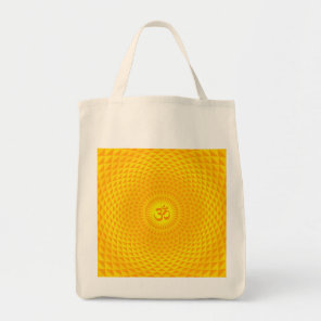 Yellow Golden Sun Lotus flower meditation wheel OM Tote Bag