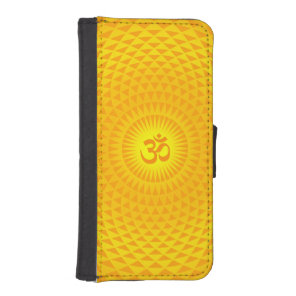 Yellow Golden Sun Lotus flower meditation wheel OM Wallet Phone Case For iPhone SE/5/5s
