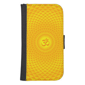 Yellow Golden Sun Lotus flower meditation wheel OM Wallet Phone Case For Samsung Galaxy S4