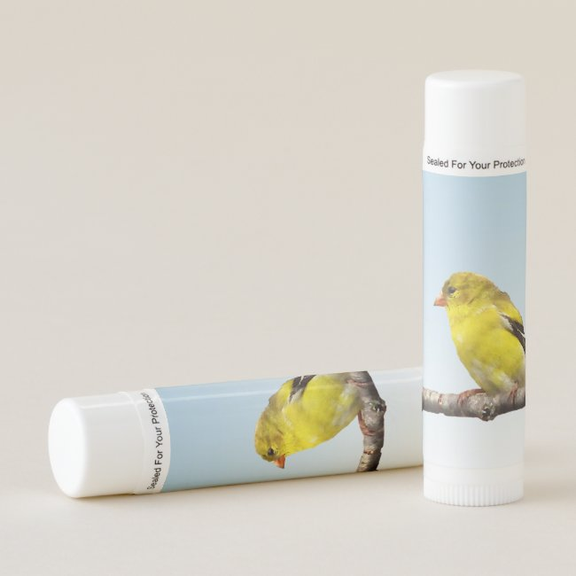 Yellow Goldfinch Bird Blue Sky Lip Balm