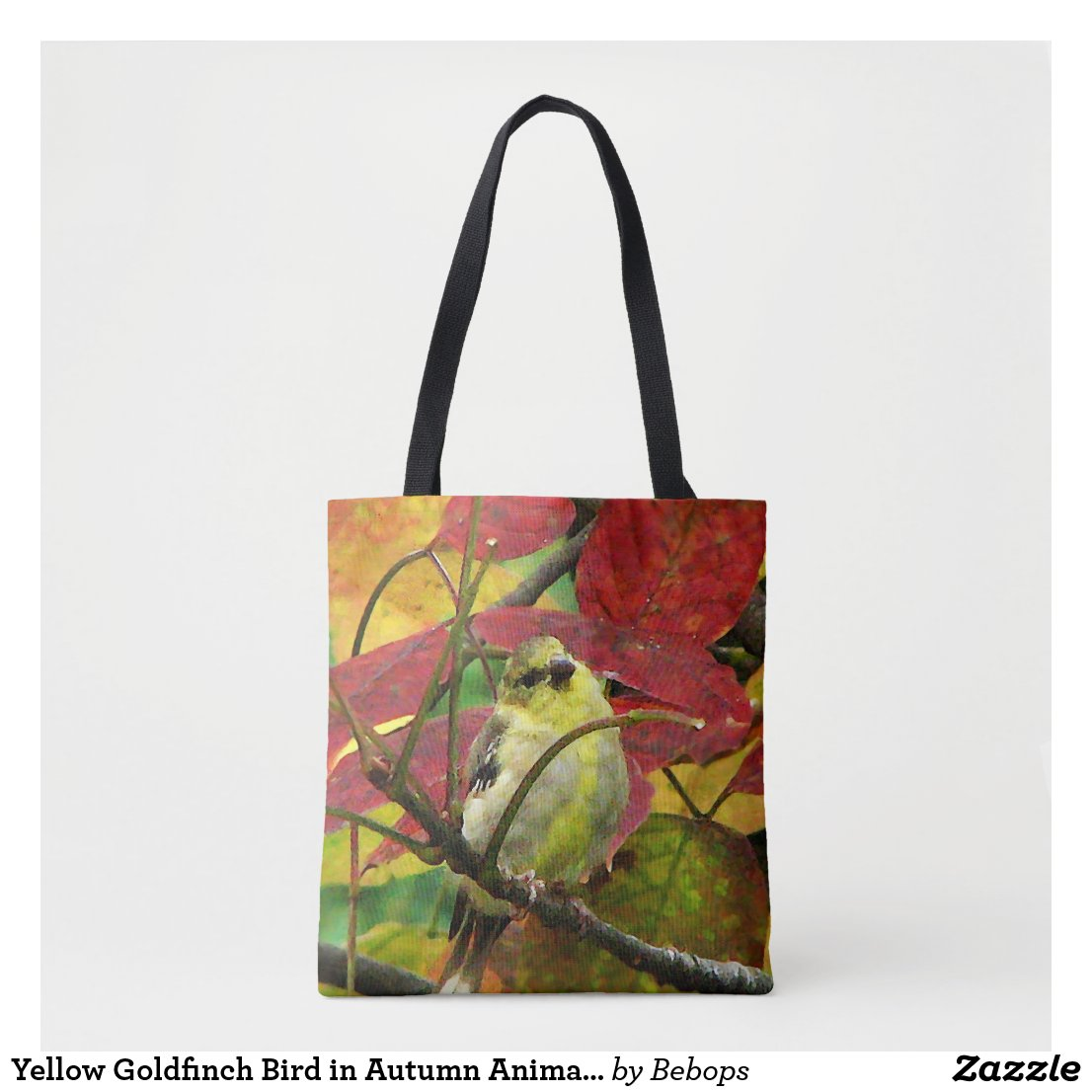 Yellow Goldfinch Bird in Autumn Animal Tote Bag