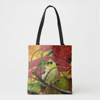 Yellow Goldfinch Bird in Autumn Animal Tote Bag