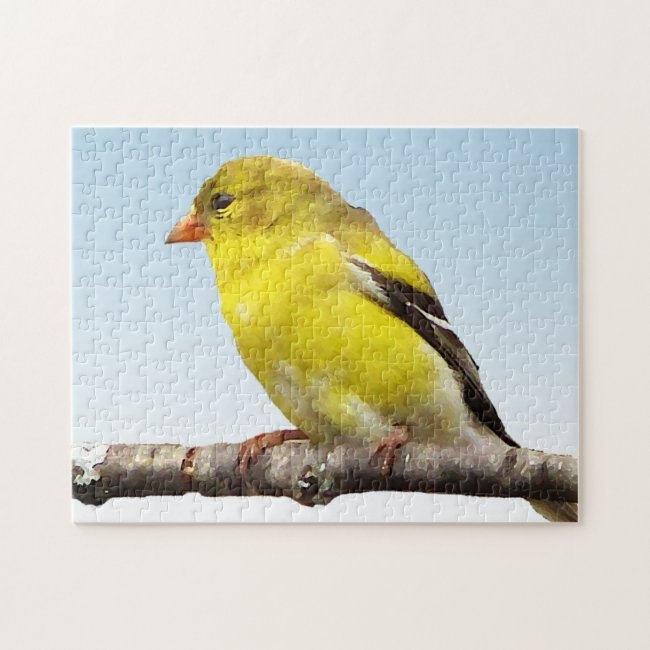 Yellow Goldfinch Bird on Blue Puzzle