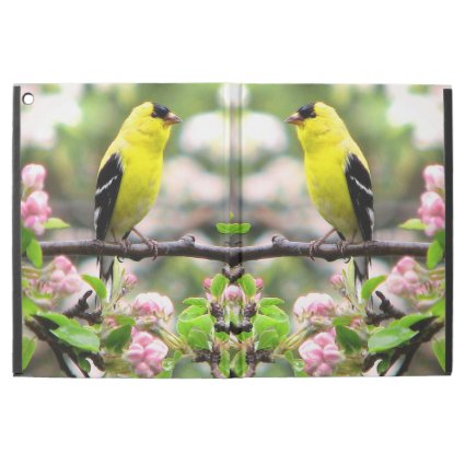 Yellow Goldfinch with Pink Flowers iPad Pro Case