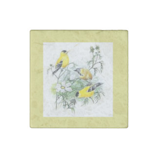 Yellow Goldfinches Stone Magnet